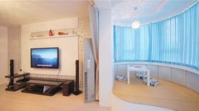 大气清新简约风格蓝色客厅浪漫设计美图