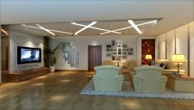 米黄色现代大气客厅吊顶设计