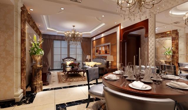 欧式风格靓丽低奢2016餐厅装饰案例