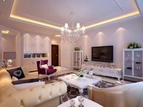 2016低奢欧式粉色客厅吊顶设计图