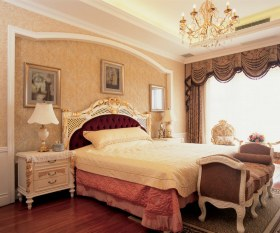 欧式橙色卧室吊顶图片欣赏