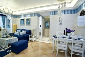 地中海风格蓝色餐厅吊顶图片赏析