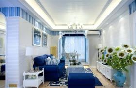 蓝色地中海客厅吊顶设计图