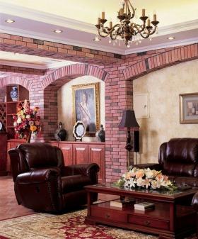 浪漫欧式风格红色客厅吊顶设计图