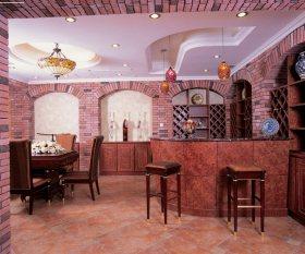 沉稳美式风格餐厅吧台装潢