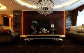 欧式风格褐色客厅吊顶装潢设计