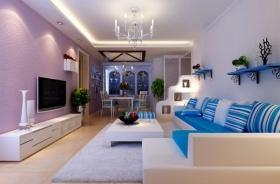 蓝色地中海风格客厅吊顶装饰图