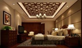 褐色古典中式风格卧室吊顶设计装潢