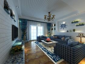 蓝色地中海客厅吊顶装潢设计