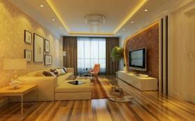 现代简约黄色客厅吊顶装潢