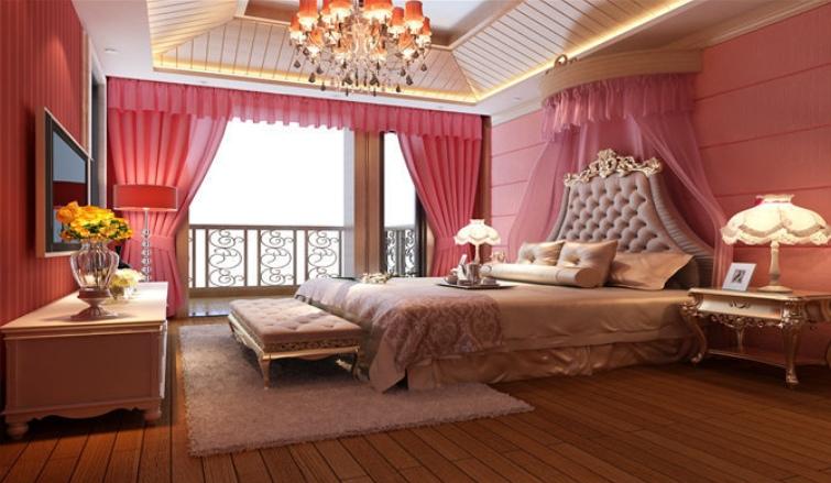 浪漫欧式风格卧室吊顶装修布置