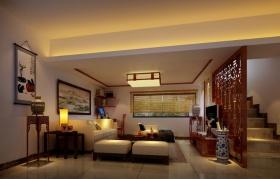 红色中式风格客厅装潢美图