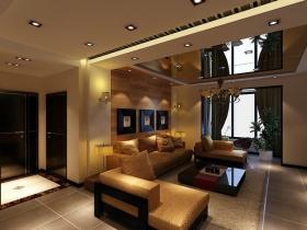 黄色简约风格客厅吊顶装修美图