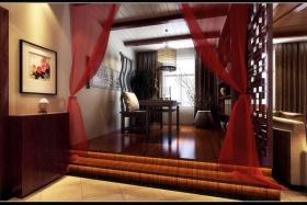 红色典雅中式风格书房装修图片