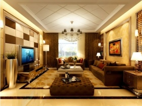 橙色混搭风格客厅吊顶装修设计