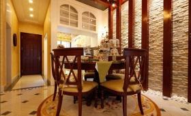 橙色新中式风格餐厅背景墙装修美图