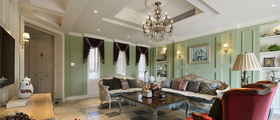 欧式风格清新绿色客厅吊顶图片赏析