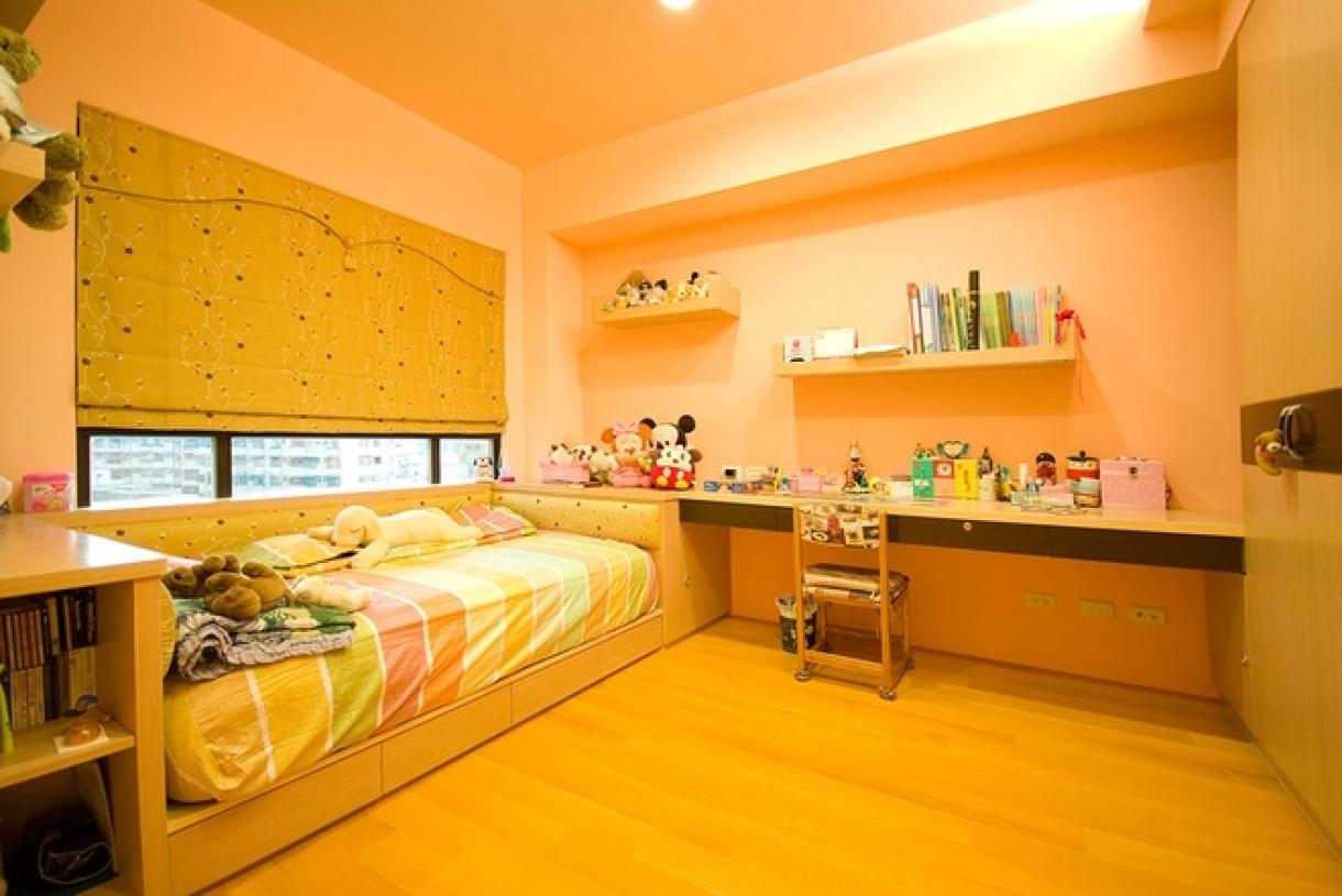 橙色新中式风格儿童房设计装潢-兔狗装修效果图