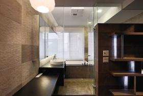 现代褐色色卫生间浴室柜装修图
