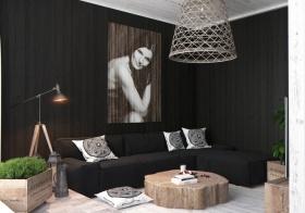 黑色欧式风格客厅吊顶装修