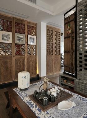 中式风格雅致灰色隔断装饰设计图片