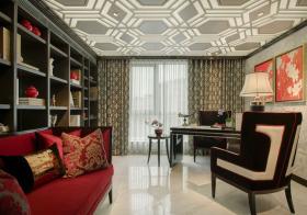 红色新中式书房设计案例