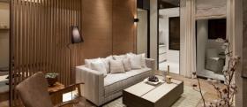 褐色中式风格客厅隔断图片欣赏