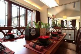 红色雅致中式风格餐厅装修设计