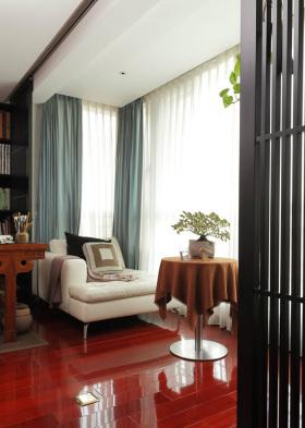 红色新中式风格雅致休闲阳台设计赏析
