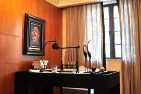 橙色大气中式风格书房装修设计