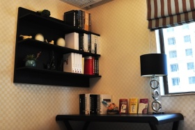 橙色中式风格书房装饰图