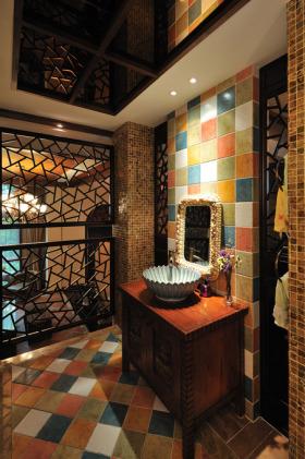 东南亚风格黑色炫酷时尚卫生间装潢案例