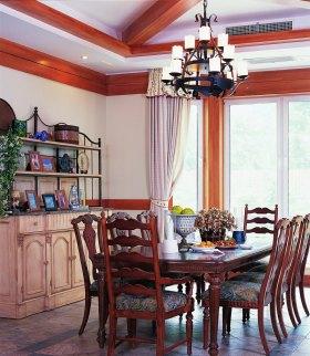 大气时尚美式风格红色餐厅吊顶效果图赏析