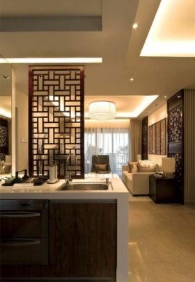 褐色中式风格厨房客厅隔断装饰设计图片