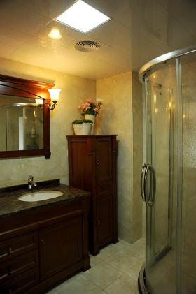 黄色中式大气2016卫生间浴室柜设计装潢