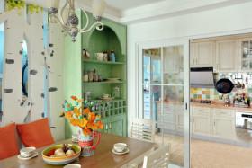 乡村温馨混搭时尚绿色餐厅橱柜装饰案例