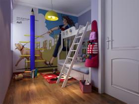 蓝色简约风格儿童房壁纸装修欣赏