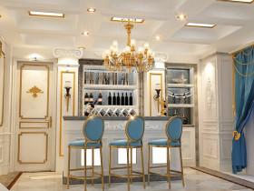 黄色欧式风格餐厅酒柜装修美图欣赏