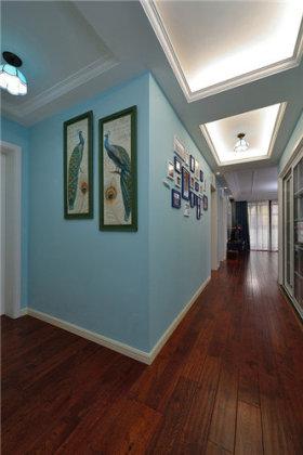 蓝色温馨现代风格玄关装修案例