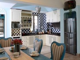 蓝色浪漫混搭风格厨房装修案例2016