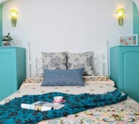 蓝色地中海卧室装饰设计图片