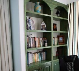 绿色清新地中海书柜效果图