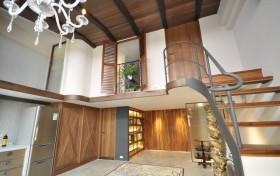 褐色混搭风格餐厅楼梯效果图设计