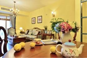 黄色欧式乡村风格餐厅布置装修效果图