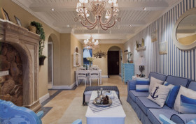蓝色地中海风格客厅赏析