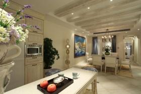 米色美式风格厨房吧台装潢案例