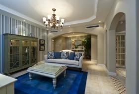 蓝色地中海风格客厅沙发装饰图