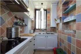蓝色清新简欧风厨房橱柜设计案例