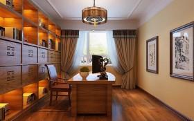 橙色个性中式风格书房装修设计