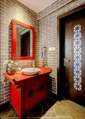 古典红色中式风格卫生间装修赏析